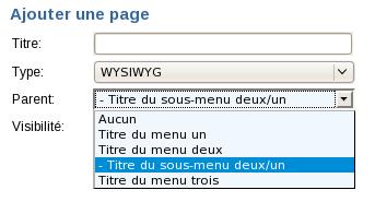 page de sous-menu