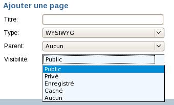 visibilité de la page
